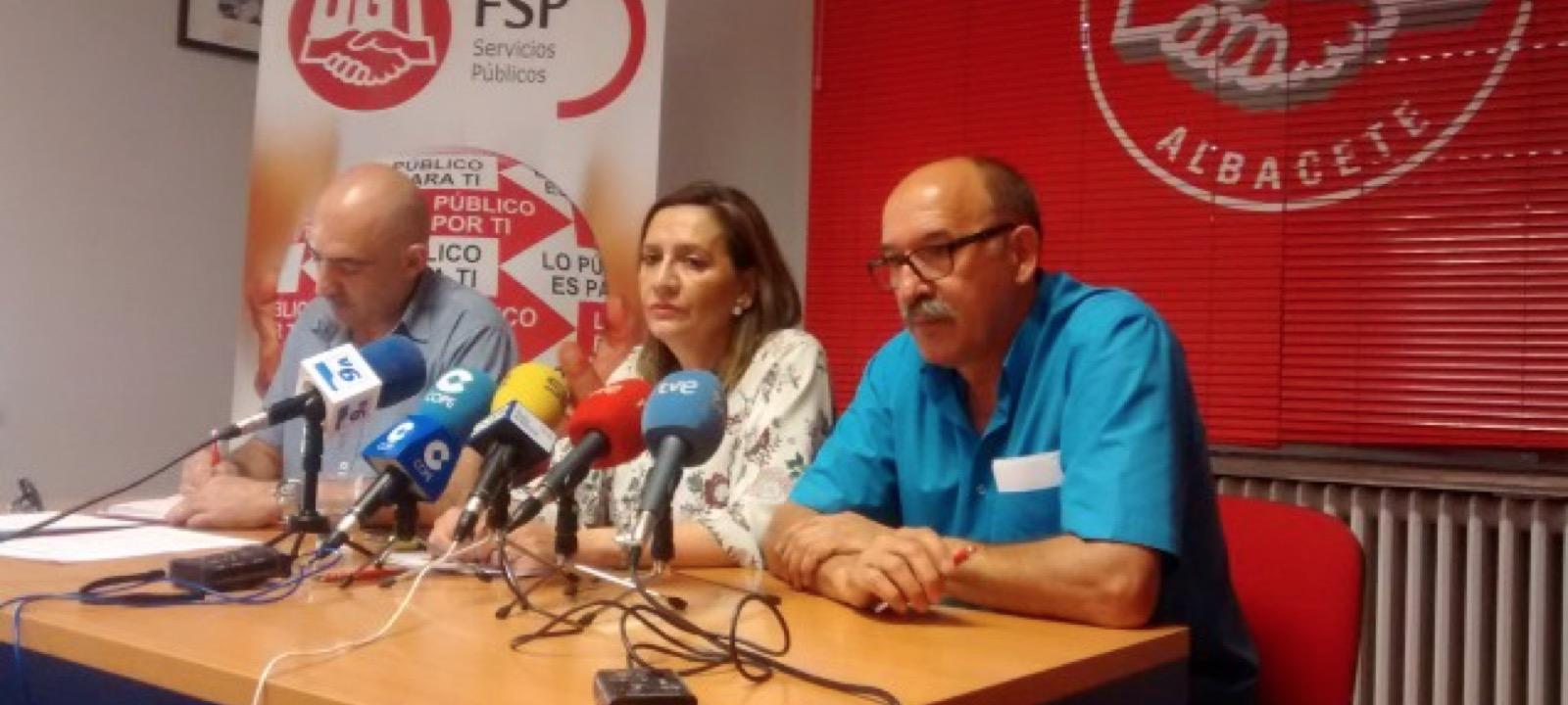 Imagen de la rueda de prensa de FSP UGT Albacete. Oposiciones Diputación Albacete.
