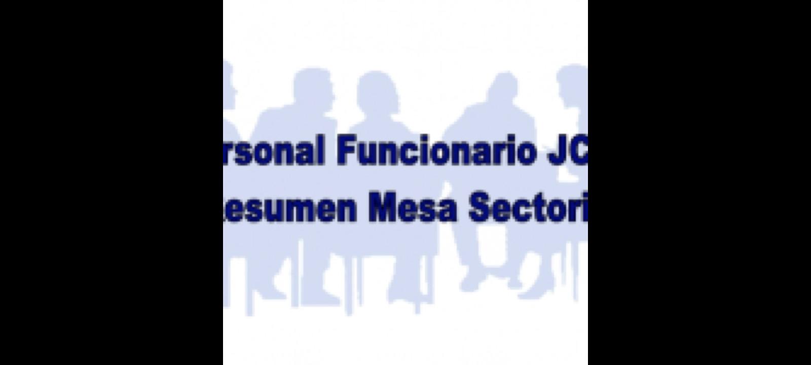 Resumen reunión Mesa Sectorial Personal Funcionario JCCM. (Septiembre 2019).