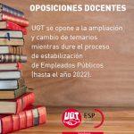 UGT se opone al cambio de temarios para las oposiciones docentes