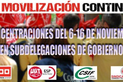 CORREOS: La movilización continua. Concentraciones del 6-16 de noviembre en las Subdelegaciones del Gobierno