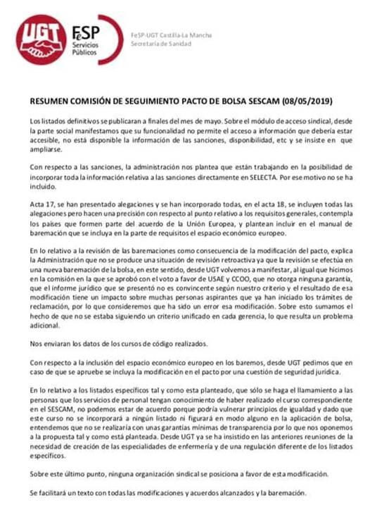 Seguimiento Sescam08052019 De Bolsa Comisión Resumen Pacto GVqSzLUMp