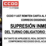 UGT y CCOO remiten carta al Presidente de Correos exigiendo la supresión inmediata del turno obligatorio de sábados